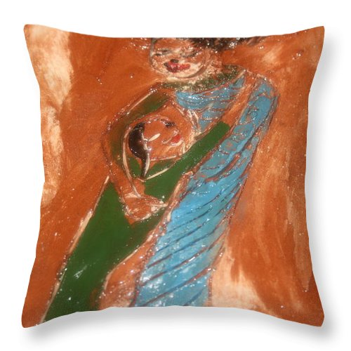 Jesus Throw Pillow featuring the ceramic art Margs Gal - Tile by Gloria Ssali