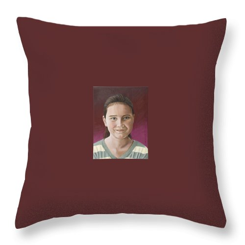 Portrait Throw Pillow featuring the painting Maria by Rob De Vries