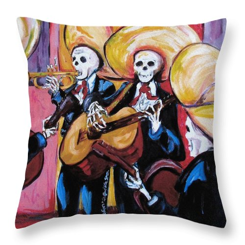 Mariachi Throw Pillow featuring the painting Mariachi IIi by Sharon Sieben