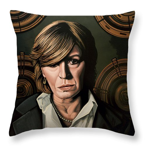 Marianne Faithfull Throw Pillow featuring the painting Marianne Faithfull Painting by Paul Meijering