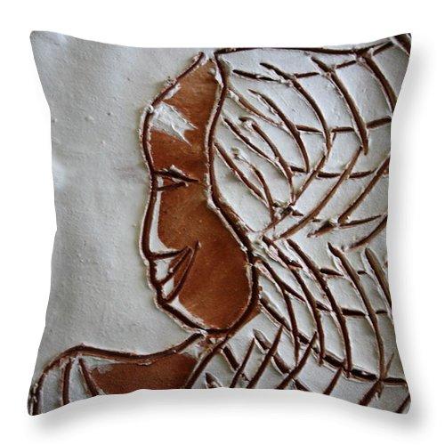 Jesus Throw Pillow featuring the ceramic art Maricar - Tile by Gloria Ssali