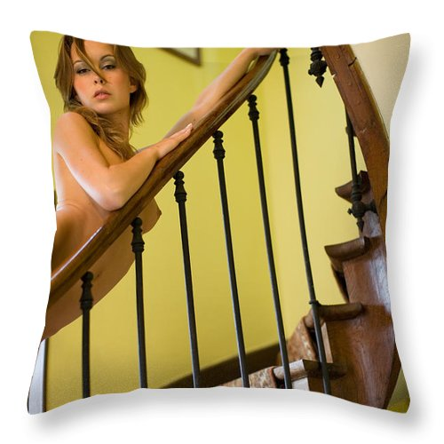Sensual Throw Pillow featuring the photograph Marie by Olivier De Rycke