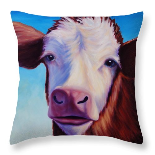 Cow Throw Pillow featuring the painting Marie by Shannon Grissom