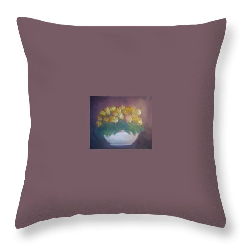 Marigolds Throw Pillow featuring the painting Marigolds by Sheila Mashaw