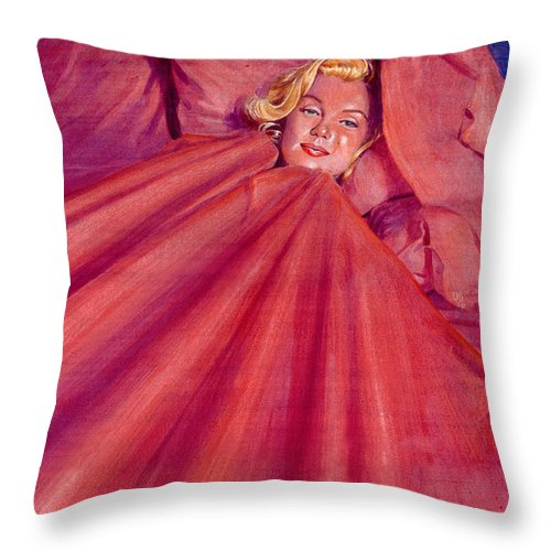 Marilyn Monroe Throw Pillow featuring the painting Marilyn In Bed by Ken Meyer