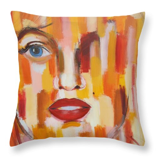 Contemporary Throw Pillow featuring the painting Marilyn Monroe by Habib Ayat
