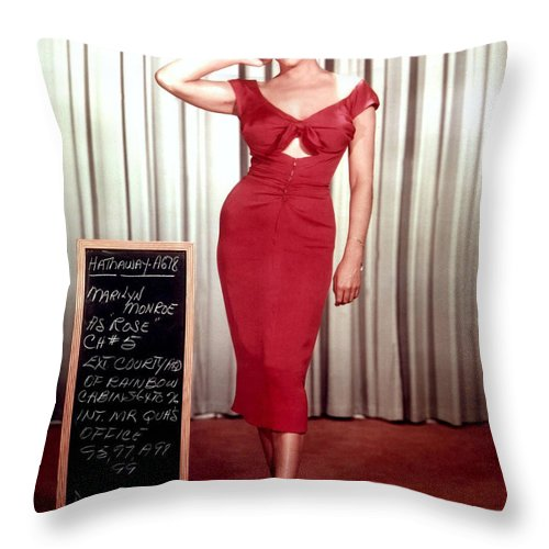 Marilyn Monroe Throw Pillow featuring the photograph Marilyn Monroe in Gentlemen Prefer Blondes by Georgia Fowler