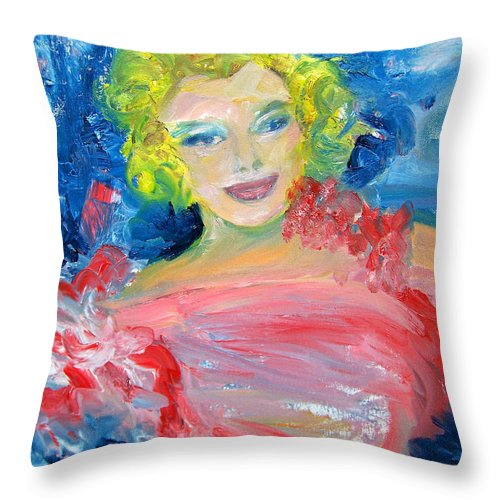 Marilyn Monroe Painting Throw Pillow featuring the painting Marilyn Monroe In Pink And Blue by Patricia Taylor