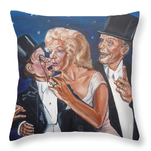 Old Time Radio Throw Pillow featuring the painting Marilyn Monroe Marries Charlie Mccarthy by Bryan Bustard