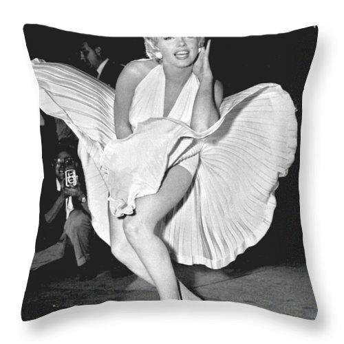 Marilyn Monroe Throw Pillow featuring the digital art Marilyn Monroe - Seven Year Itch by Georgia Fowler