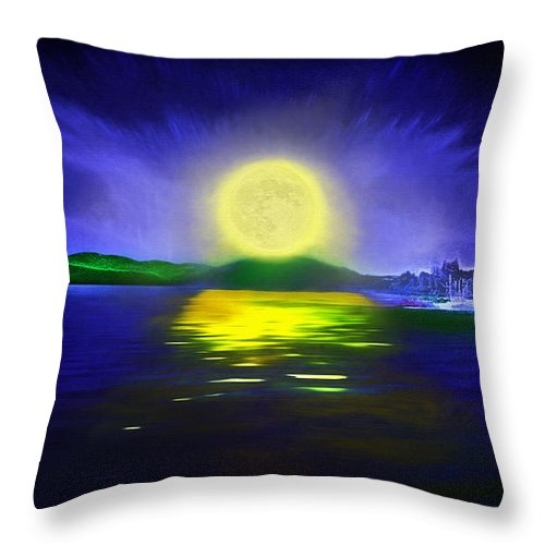 Couer D' Alene; Idaho; Lakes; Water; Night; Nighttime; Moonlight; Moonlit; Full Moon Throw Pillow featuring the photograph Marina Moonrise by Steve Ohlsen
