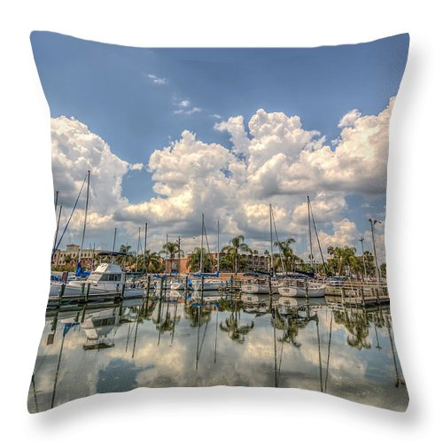 Florida Throw Pillow featuring the photograph Marina Reflections by Jane Luxton