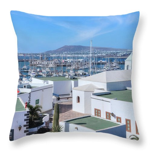 Marina Rubicon Throw Pillow featuring the photograph Marina Rubicon - Lanzarote by Joana Kruse