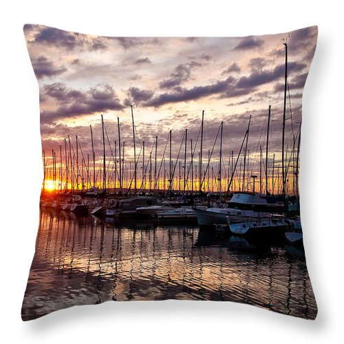 Sunset Throw Pillow featuring the photograph Marina Sunset by Mike Reid