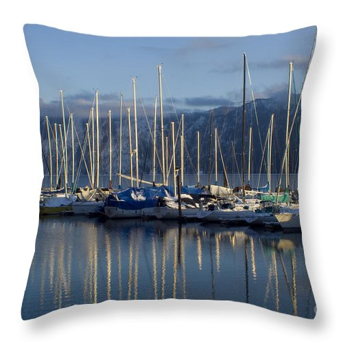 Calm Throw Pillow featuring the photograph Marina Tranquility by Idaho Scenic Images Linda Lantzy