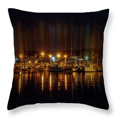 Marine Throw Pillow featuring the photograph Marine At Night by Lilia D