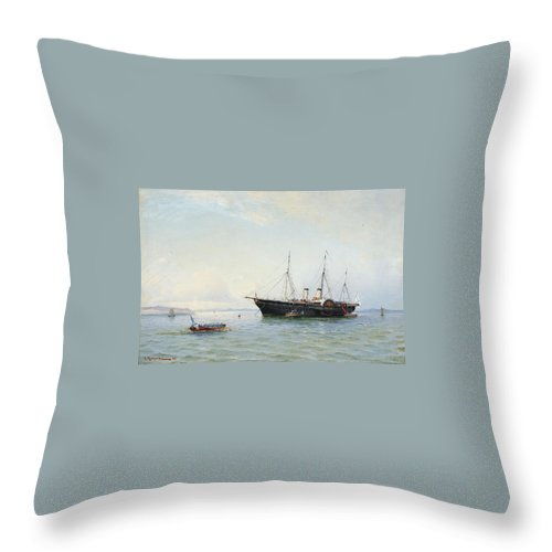 Ludvig Richarde 1862-1929 Marine Motives Throw Pillow featuring the painting Marine Motives by MotionAge Designs
