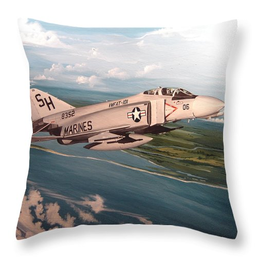 Aviation Throw Pillow featuring the painting Marine Phantom by Marc Stewart