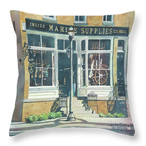 Storefronts Throw Pillow featuring the painting Marine Supply Store by LeAnne Sowa