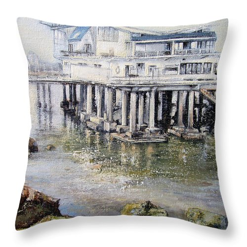 Maritim Throw Pillow featuring the painting Maritim Club Castro Urdiales by Tomas Castano
