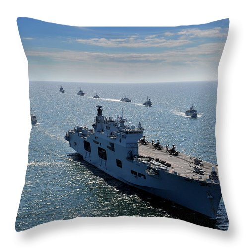 Baltic Sea Throw Pillow featuring the painting Maritime Forces From 17 Nations by Celestial Images