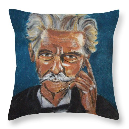Mark Twain Throw Pillow featuring the pastel Albert Schweitzer by Arline Wagner