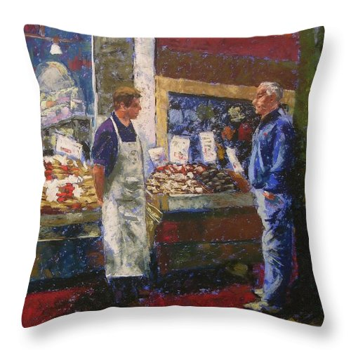 Pike Place Market Throw Pillow featuring the painting Market Conversation by Mary McInnis