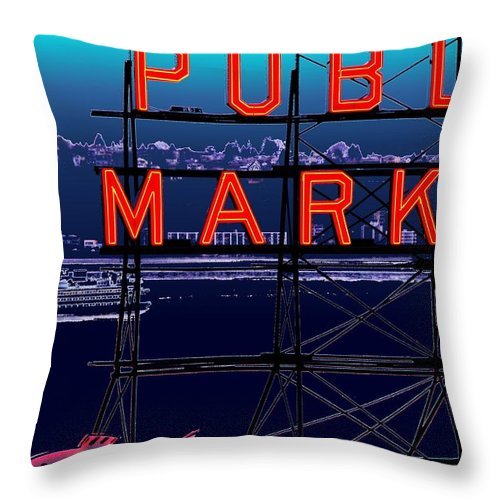 Seattle Throw Pillow featuring the digital art Market Ferry by Tim Allen