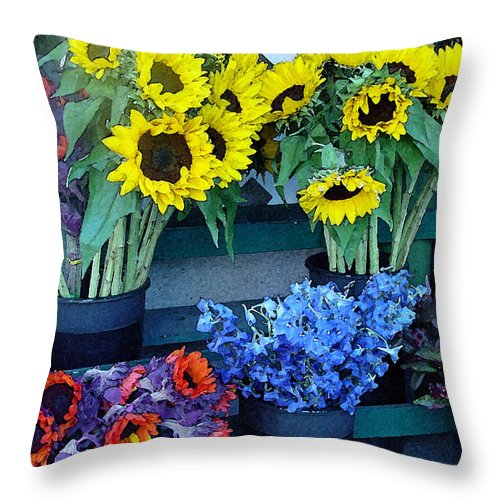 Digital Art Throw Pillow featuring the photograph Market Fresh In Watercolor by Suzanne Gaff