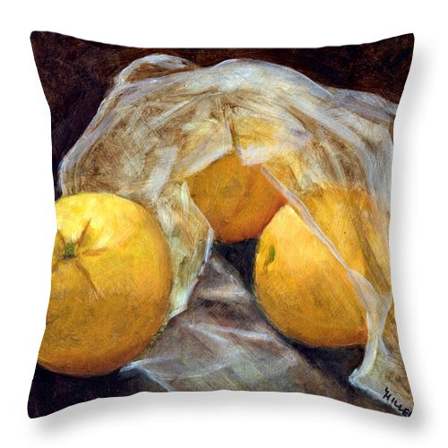 Still Life Throw Pillow featuring the painting Market Fresh by Linda Hiller