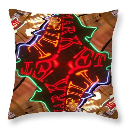 Seattle Throw Pillow featuring the photograph Market Grill by Tim Allen