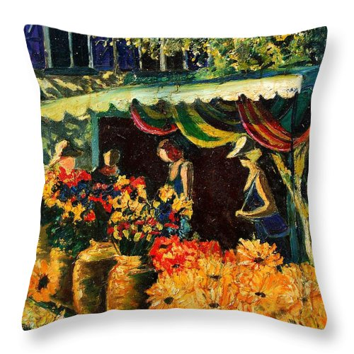 Provence Throw Pillow featuring the painting Market In Provence by Pol Ledent