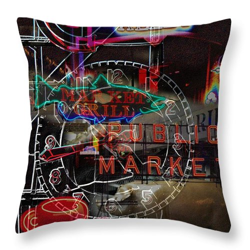 Seattle Throw Pillow featuring the photograph Market Medley by Tim Allen