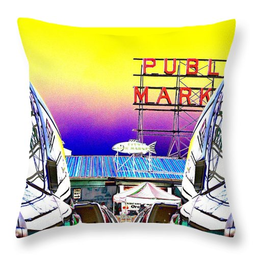 Seattle Throw Pillow featuring the photograph Market Reflect by Tim Allen