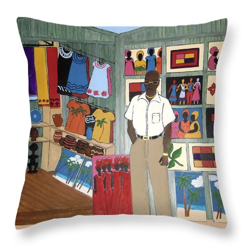 Man Throw Pillow featuring the painting Market Stall In Dominican Republic by Stephanie Moore