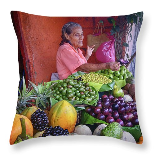 Prott Throw Pillow featuring the photograph market stall in Nicaragua by Rudi Prott