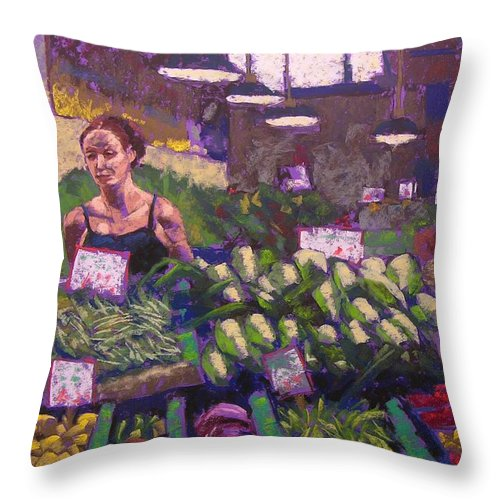 Pike Place Market Throw Pillow featuring the painting Market Veggie Vendor by Mary McInnis