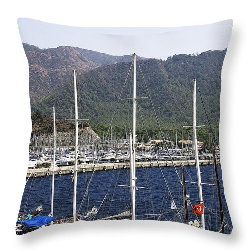 Boat Throw Pillow featuring the photograph Marmaris Port by Svetlana Sewell