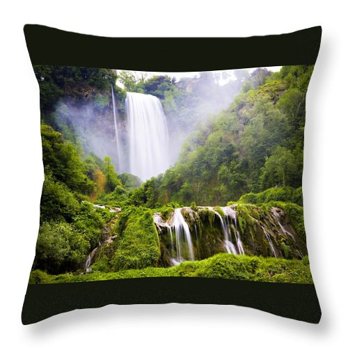 Italy Throw Pillow featuring the photograph Marmore Waterfalls Italy by Marilyn Hunt