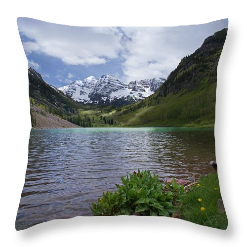 Aspen Throw Pillow featuring the photograph Maroon Bells Spring by Heather Coen