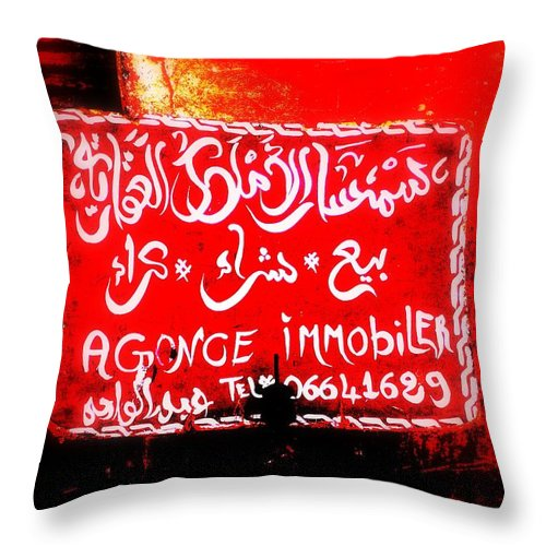 Real Estate Throw Pillow featuring the photograph Marrakech Real Estate Agency by Funkpix Photo Hunter