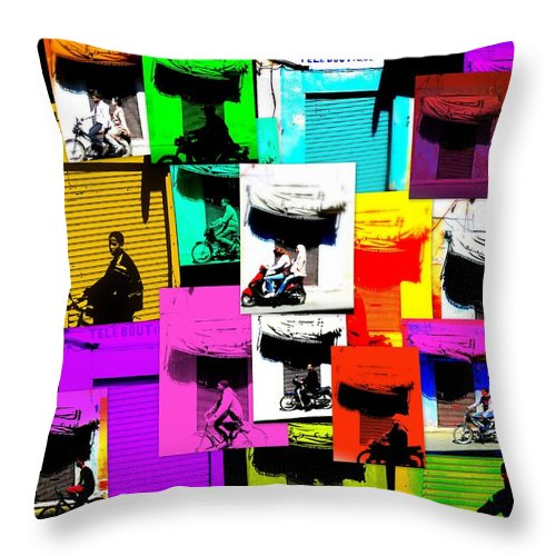 Marrakech Throw Pillow featuring the photograph Marrakech Traffic Scenes by Funkpix Photo Hunter