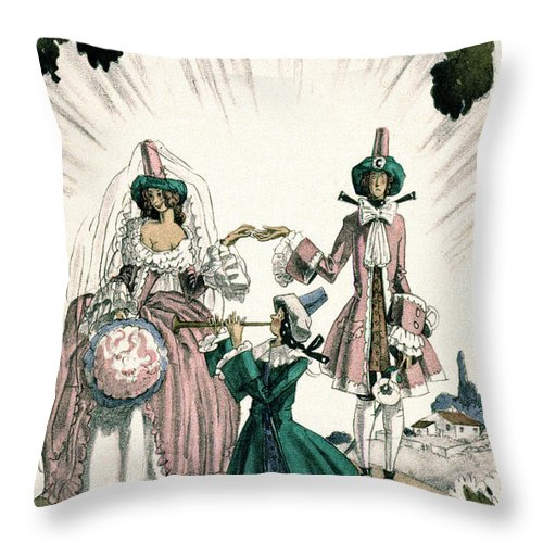 18th Century Throw Pillow featuring the photograph Marriage Of Candide by Granger