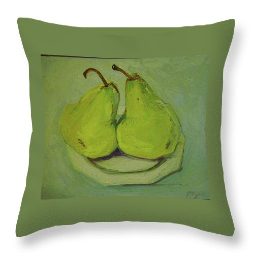 Two Yellow Pears Throw Pillow featuring the painting Marriage Of The Pears by Pat Gray