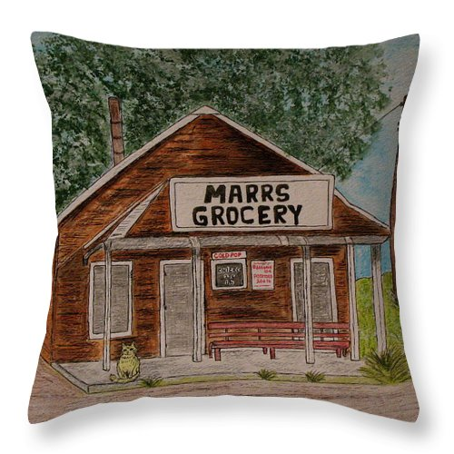 Marrs Throw Pillow featuring the painting Marrs Country Grocery Store by Kathy Marrs Chandler