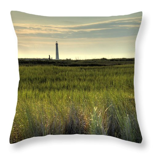 Morris Island Light House Morning Folly Beach Lowcountry South Carolina Landscape Grass Beach Hdr Throw Pillow featuring the photograph Marsh Grass And Morris Island Lighthouse by Dustin K Ryan