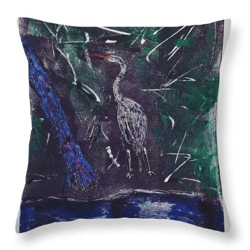 Monotype Throw Pillow featuring the mixed media Marsh Magic by Cori Solomon