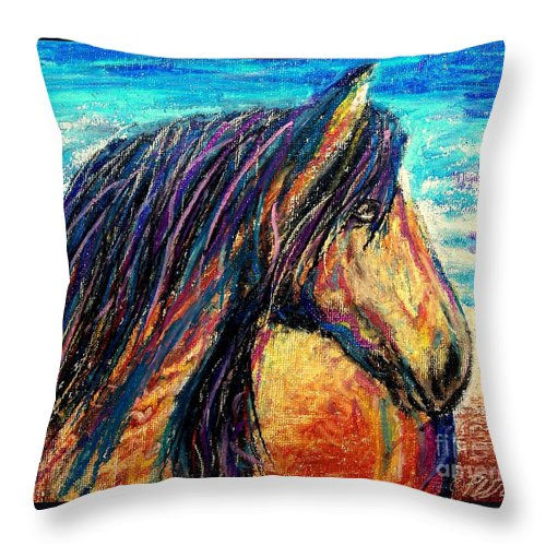 Marsh Tacky Throw Pillow featuring the painting Marsh Tacky Wild Horse by Patricia L Davidson
