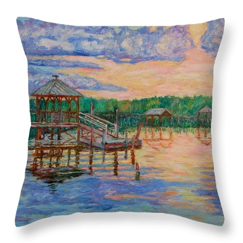 Landscape Throw Pillow featuring the painting Marsh View At Pawleys Island by Kendall Kessler