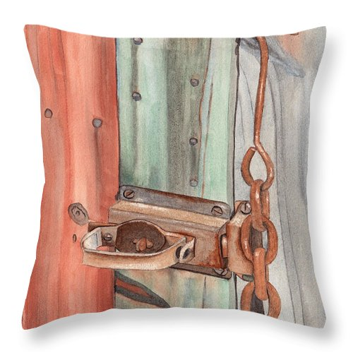 Lock Throw Pillow featuring the painting Marsha's Lock by Ken Powers